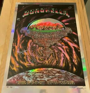 EMEK-Coachella-2011-Purple-Mirror-Foil-Variant-4-5-Signed-Print-Free-Shipping