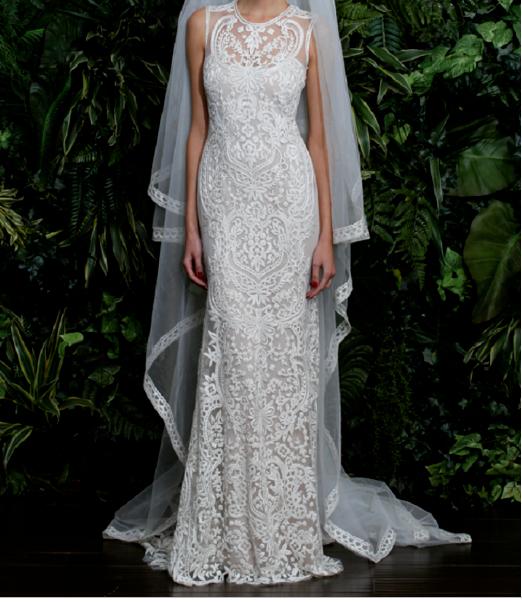 Stunning Naeem Khan Valencia Embroidered Beaded Wedding Dress Sz 8