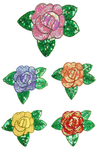 Red Pink Purple Orange Yellow Rose Beaded Sequins Sew On Patch Applique by Piece