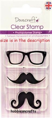 DOVECRAFT SMALL CLEAR CLING STAMPS DCCS025 MOUSTACHE /& GLASSES