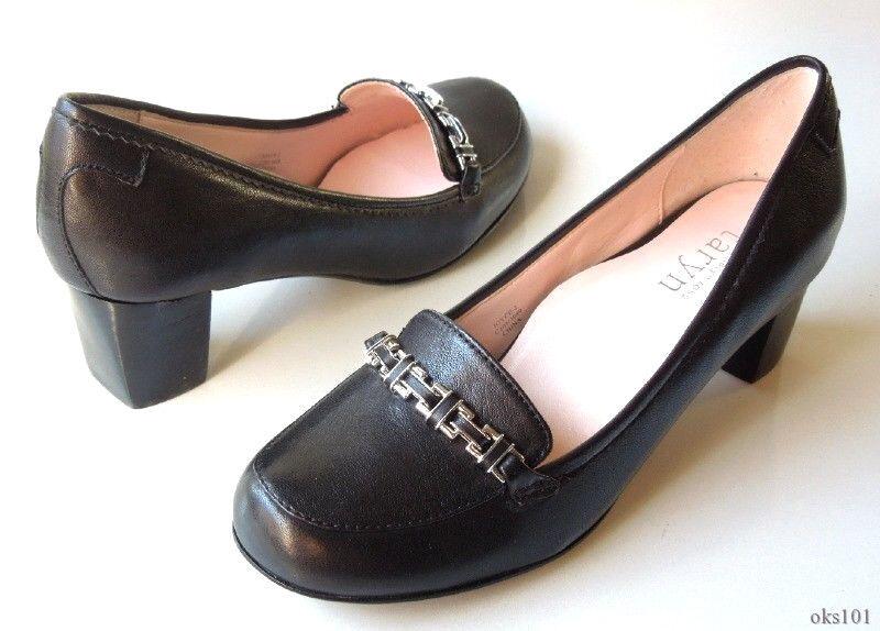 varie dimensioni New TARYN rosa 'Joyce' nero nero nero leather CHAIN loafer-style pumps scarpe 8 very comfy  il più economico