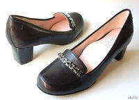 Taryn Rose 'joyce' Black Leather Chain Loafer-style Pumps Shoes 8 Very Comfy