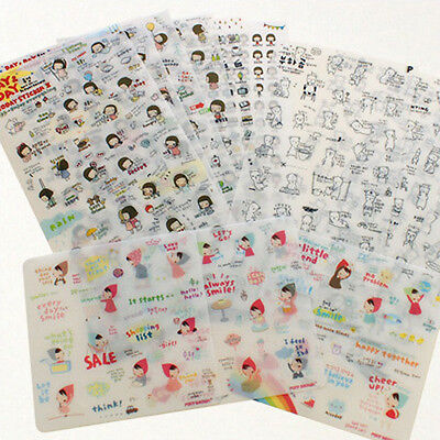 Cute Diary Decoration Sticker_Pony Brown_3 Kinds Set (13 Sheets / Clear)