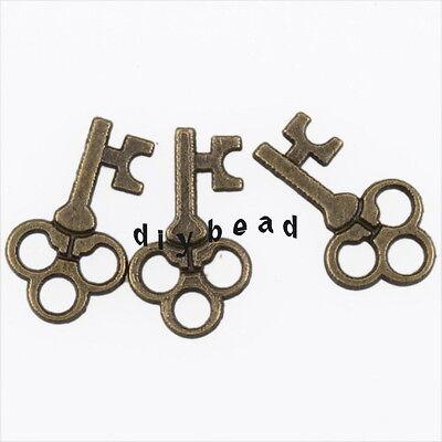 200x 144323 New Flower Keys Vintage Bronze Charms Alloy Pendants Findings