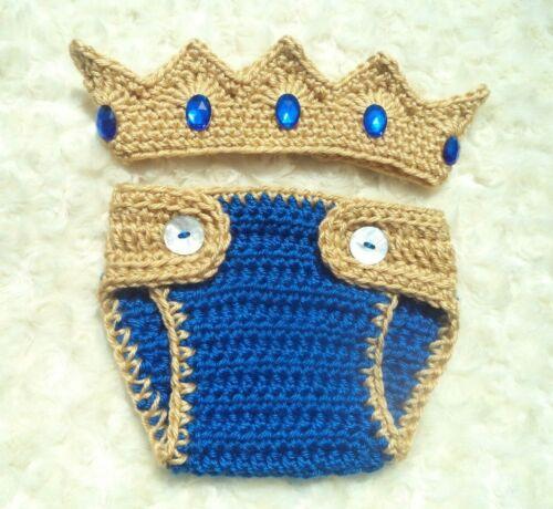 Blue Crochet Diaper Cover Set Crochet Crown Outfit Crochet Baby Prince Crown