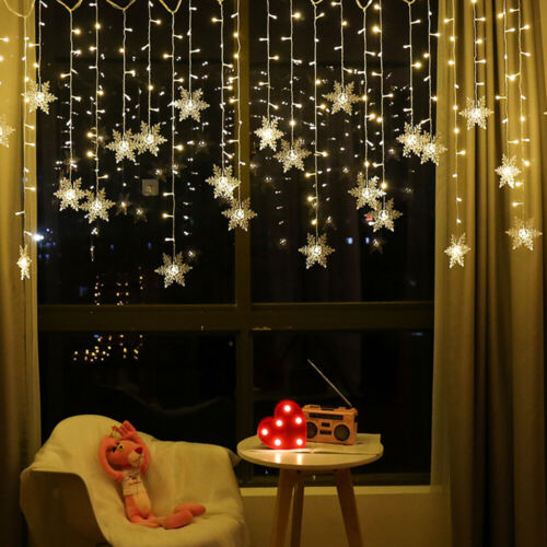UK LED Window Curtain Snowflake String Fairy Lights Outdoor Christmas Decoration