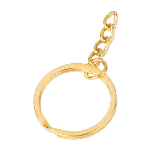 Satz von 100pcs Alloy Split Keyring Schlüsselanhänger mit Kette 25mm Gold
