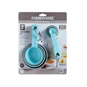 Farberware-Profesional-9-Pc-Conjunto-de-tazas-y-cucharas-de-medir-suave-de-la-manija-Aqua-Gris