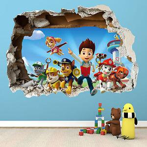 PAW PATROL SMASHED WALL STICKER - 3D BEDROOM BOYS GIRLS VINYL WALL ...