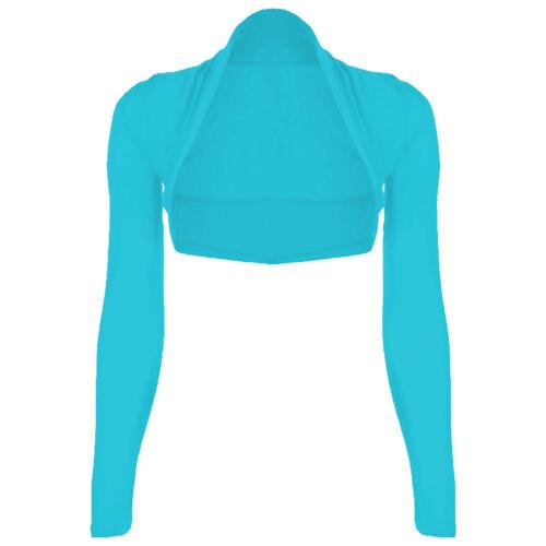 Womens Plain Long Sleeves Cropped Bolero Shrug Top Ladies Cardigan Plus Size8-26