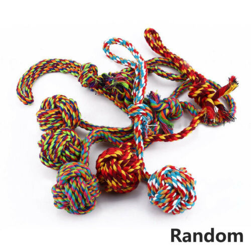 Lovely Puppy Dog Pet Chew Toy Cotton Braided Bone Rope Color Chew Knot