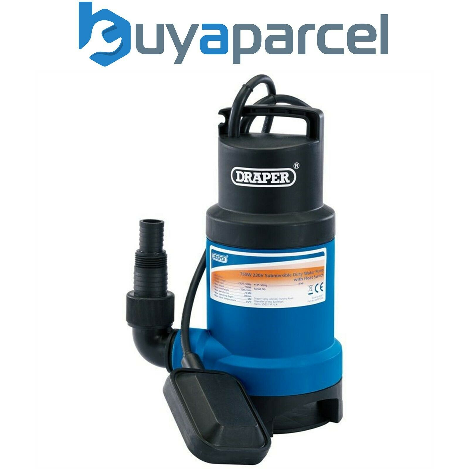 Draper 61667 Submersible Sub Dirty Water Pump with Float Switch 200L/min