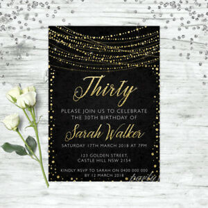 30TH-BIRTHDAY-INVITATIONS-AGE-THIRTY-PERSONALISED-PARTY-SUPPLIES-INVITE-GOLD