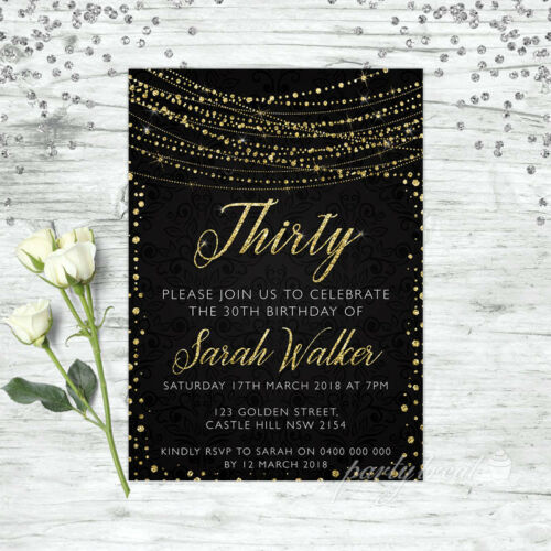 30TH BIRTHDAY INVITATIONS AGE THIRTY PERSONALISED PARTY SUPPLIES INVITE GOLD