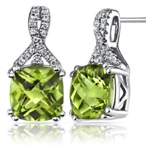 2-Ct-Green-Peridot-18K-White-Gold-Plated-Stud-Earring-6mm-Gemstone