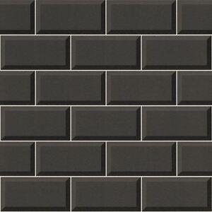 Image Is Loading Black Tile Wallpaper Effect Bathroom Kitchen Washable