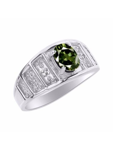Color Stone Birthstone Ri Details about  /Diamond /& Green Sapphire Ring Set In Sterling Silver