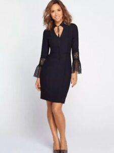 Fluted 16 Rrp£75 12 Bnwt Black 14 Sleeve 8 Dress 18 Myleene Pencil Klass Lace 10 PqwOtX