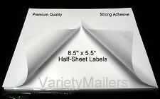 50 Half Sheet Shipping Postage Labels 85x 11 Sheet Strong Adhesive