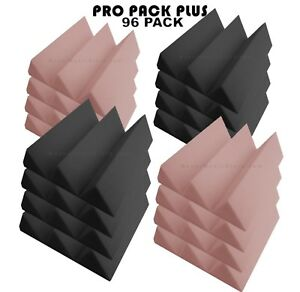 Pro-Pack-Plus-Acoustic-Foam-96pcs-Rosy-Beige-Grey-wedge12X12x4-034-Soundproofing