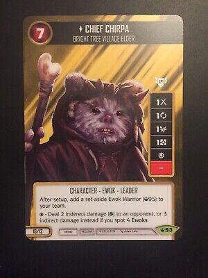 Star Wars Destiny Spark of Hope ~ Chief Chirpa #93 Rare w// Die