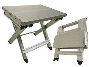 Aluminium Folding Caravan Step Stool Table Holds 150kgs 23