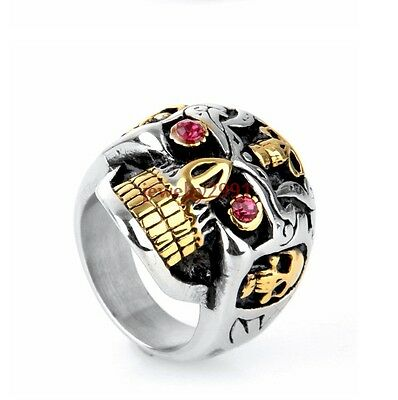 8-13# men's punk style silver gold stainless steel scull red stone eye ring