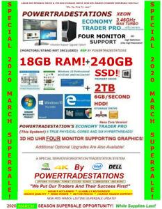 DELL-4-MONITOR-TRADING-COMPUTER-TRUE-XEON-TURBO-3-46GHz-18GBRAM-240GBSSD-2TBHDD