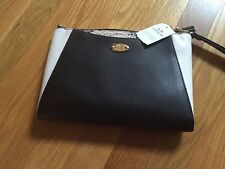 Coach Black White Exotic Trim Leather Clutch Large morgan Wrislet F 53419-NWT