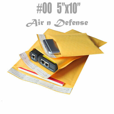 10 Pack #00 5x10 Yellow Kraft Bubble Mailers Padded Mailing Envelope Shipping Bags 5 x 10