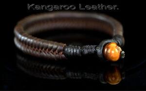 9B-204 Solid Sterling Silver /& Kangaroo Leather Armband Wristband Men Bracelet.