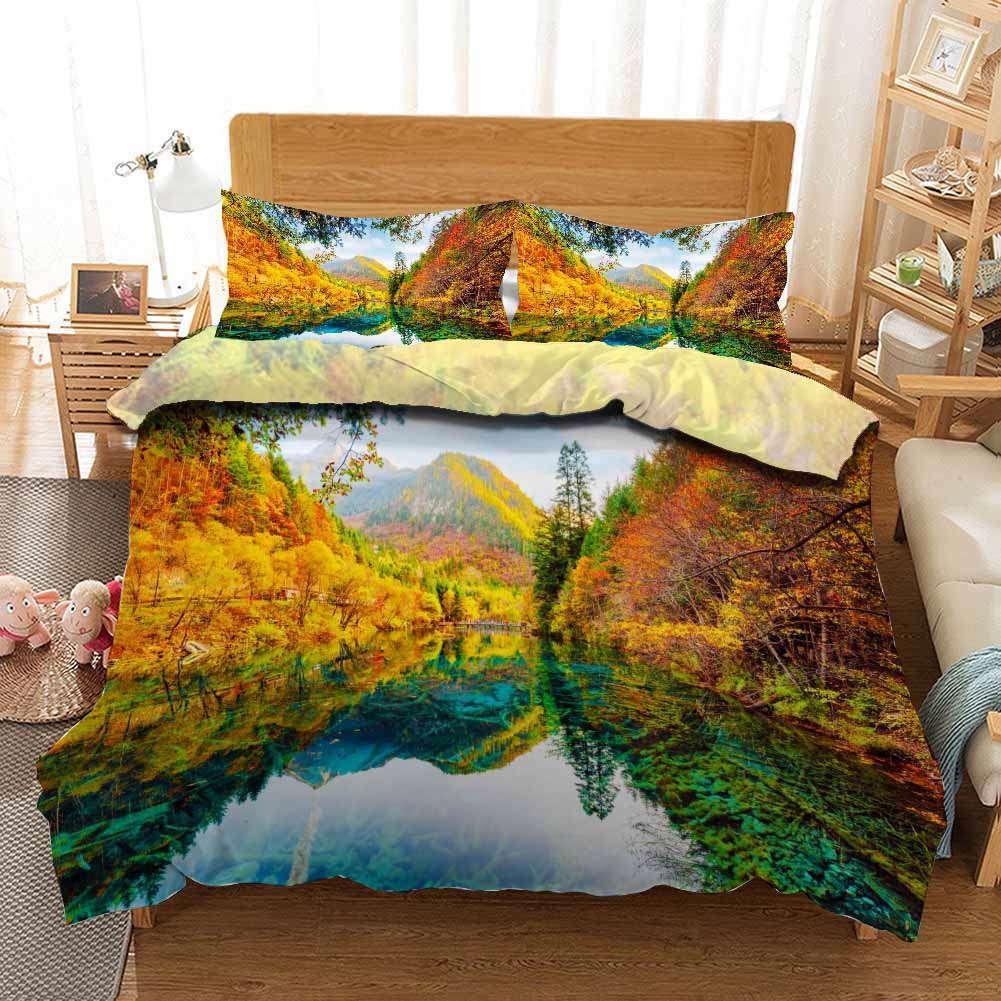 Big Lake Mirror 3D Printing Duvet Quilt Doona Covers Pillow Case Bedding Sets