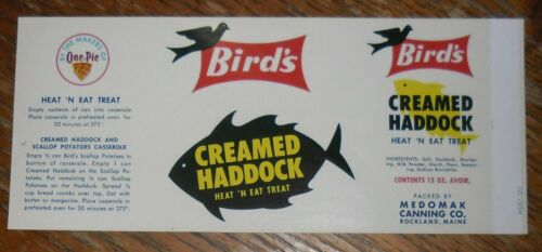 Bird/'s Creamed Haddock Can Label Rockland Maine Medomak Canning