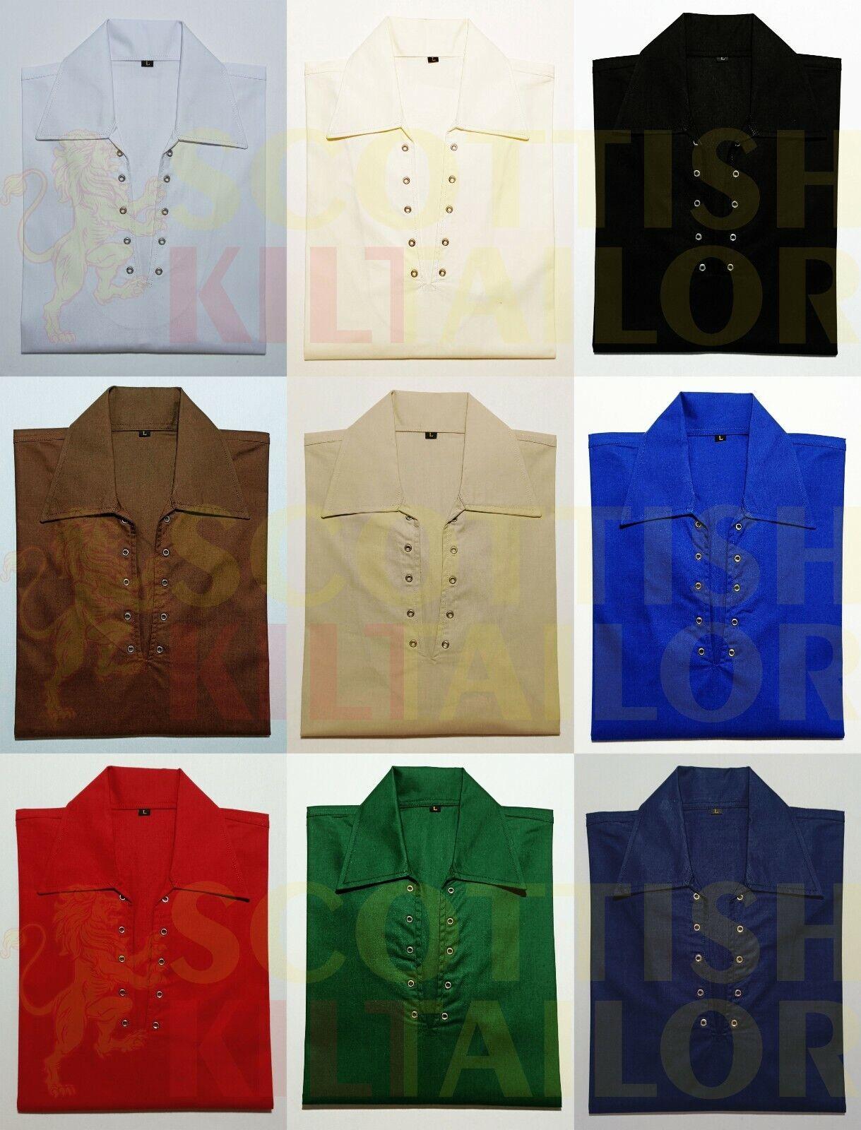 2021 SALE Scottish GHILLIE KILT SHIRT 9 Colors Jacobite Jacobean SIZE .S To 8XL