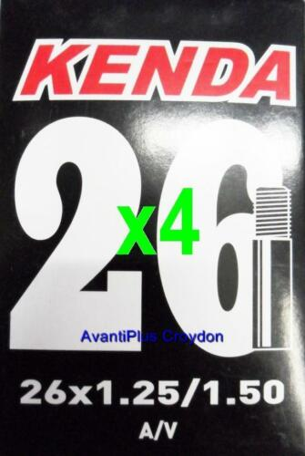 "4x Kenda 26/"" SCHRADER MTB Tube 26x1.25//1.5/"" A//V S//V 36mm Valve 4-pack discount"