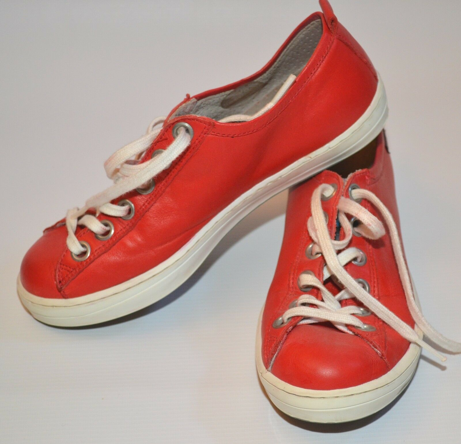 CAMPER LEATHER IMAR RED SNEAKERS TRAINERS SAILING SHOES EURO 35  USED