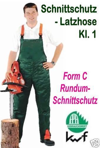 52 Form C Rundum Schnittschutz Kl.1 Latzhose Forst THW etc Schnittschutzhose Gr