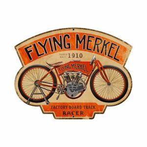 """FLYING MERKEL MOTORCYCLE BIKE 17"""" HEAVY DUTY USA MADE METAL ADVERTISING SIGN"""