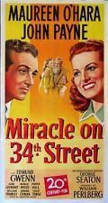 MIRACLE ON 34TH STREET MAUREEN O'HARA CHRISTMAS CLASSIC 1947 3-SHEET LINENBACKED
