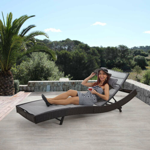 enveloppe gris polyrotin Chaise longue Savannah bain de soleil ~ marron chiné