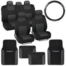 14 Pc Car Seat Covers Set Black & Charcoal w/ PU Leather Trim Carpet Floor Mats