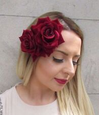 Large Double Burgundy Red Rose Flower Hair Clip Rockabilly 1950s Fascinator 2971