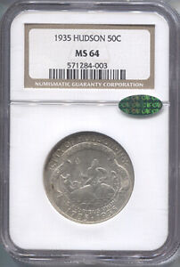 1935-Hudson-Silver-Commemorative-Half-Dollar-NGC-MS-64-CAC-Mint-State-64-CAC