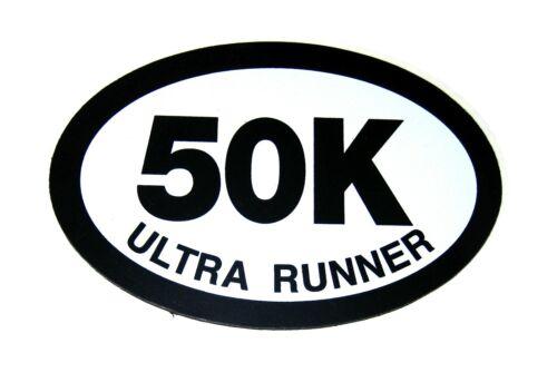 """50K ULTRA RUNNER Oval CAR MAGNET 4/"""" x 6/"""" Ultramarathon Running Race Black White"""
