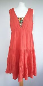 Pepperberry-Orange-Tiered-Beaded-Front-Summer-Dress-UK-Size-16-CV-Curvy-Holiday