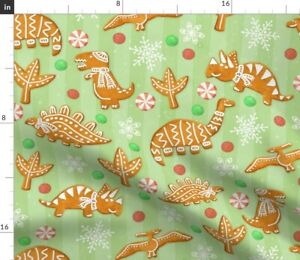 Gingerbread Dinos Spearmint Cookies Dinosaurs Spoonflower Fabric by the Yard