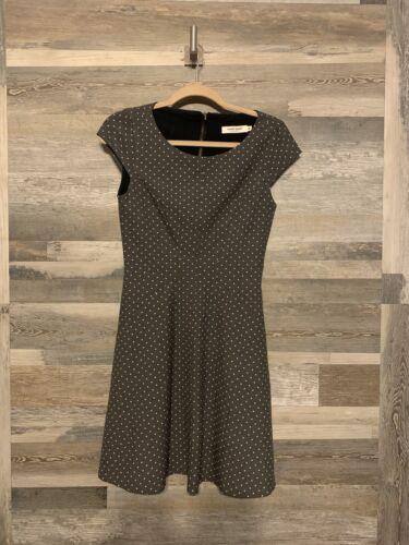 Naf Naf Grey Tapered Waist Polka Dot Dress Size 36