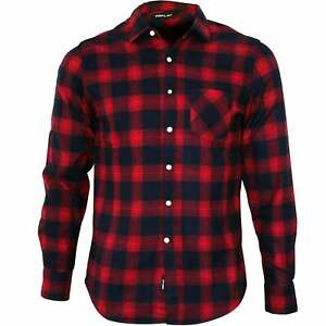 Replay-Brushed-Flannel-Tartan-Check-Men-039-s-Shirt-Red