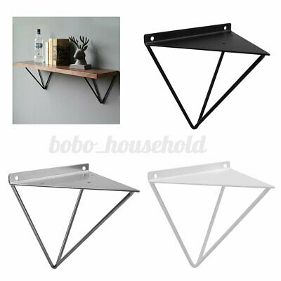 2Pcs Industrial Durable Floating Hairpin Wall Shelf Support Brackets Metal Black