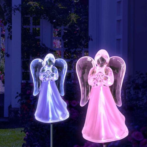 Set of 2 Solar Powered Angel Frosted Skirt Garden Stake Color Change LED Light